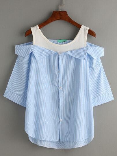 Pale Blue Contrast Open Shoulder High Low Blouse