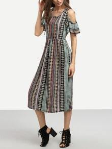Multicolor Open Shoulder High Waist Vintage Print Dress