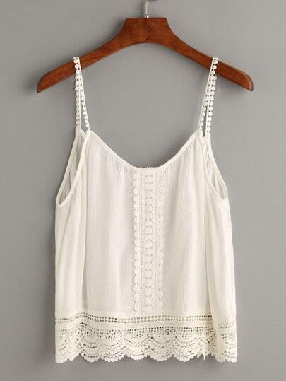 White Contrast Crochet Hollow Out Cami Top