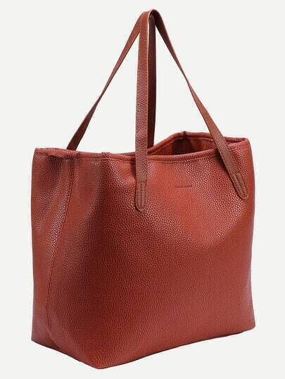 Orange Faux Leather Shopper Bag