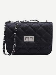 Black Twist Lock Diamondback PU chain Bag