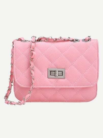 Pink Twist Lock Diamondback PU Chain Bag