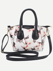 White Zipper Florals PU Bag