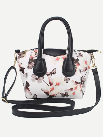 Flower Butterfly Zipper Shoulder Bag