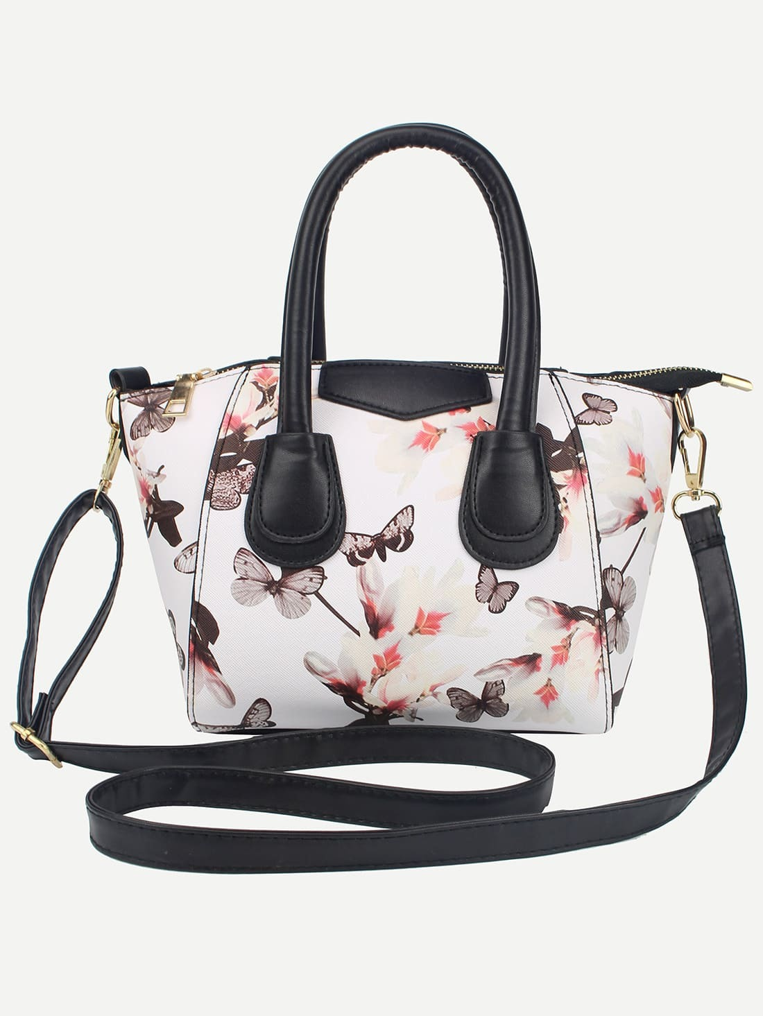 White Zipper Florals PU Bag Image