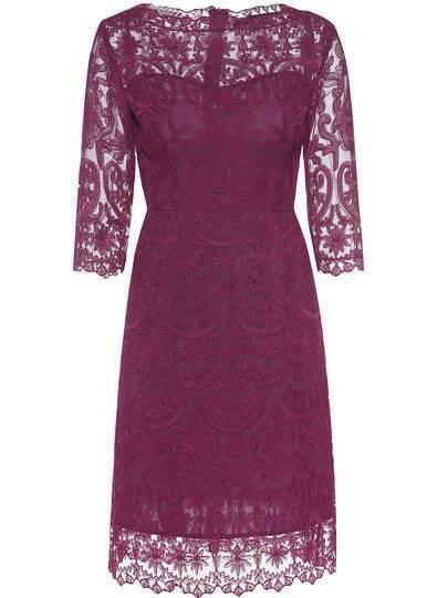Purple Gauze Disc Flowers Sheath Lace Dress