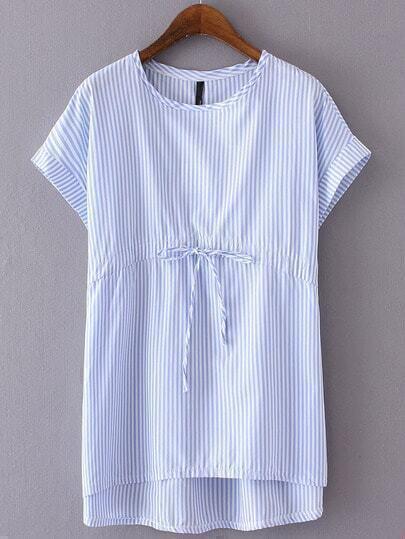 Blue Striped Tie Waist Cap Sleeve T-shirt