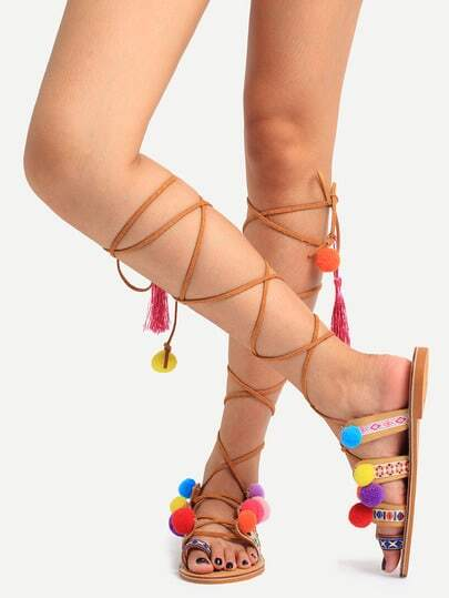 She-In Pom Pom Sandals