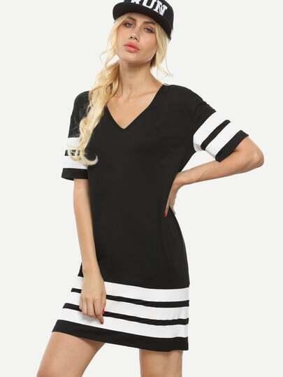 Black and White Striped V Neck Shift Dress