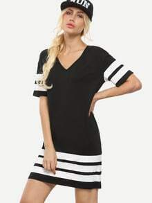 Black and White Striped V Neck Shift Dress