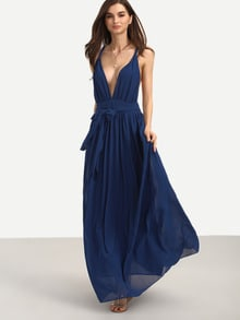 Navy V Neck Tie Waist Sleeveless Maxi Dress