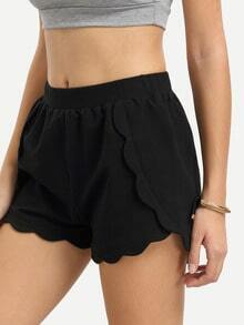 Black Wavy Hem Casual Shorts