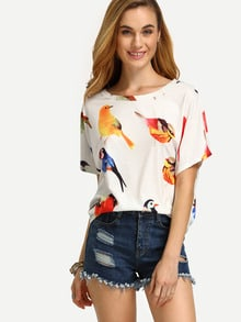 Bird Print Loose T-shirt