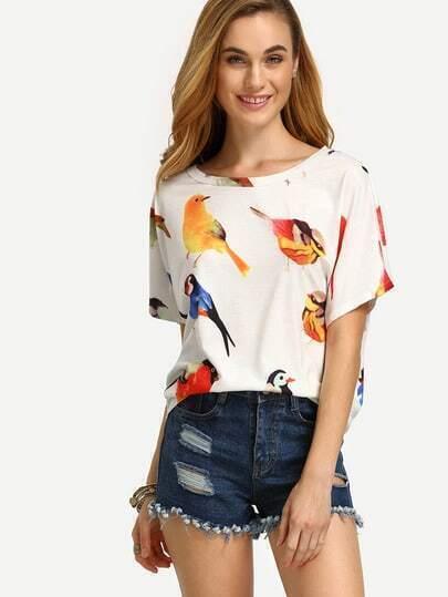 Bird Print Loose T-shirt