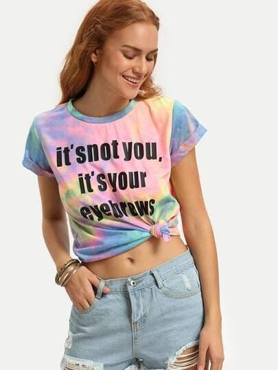 Multicolor Print Cap Sleeve T-shirt