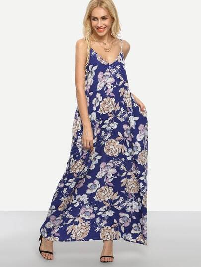 Multicolor Floral Print Slip Maxi Dress