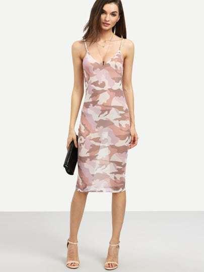 Pink Camo Print Sheer Bodycon Dress