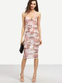 Pink Camo Print Sheer Bodycon Dress