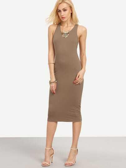 Brown Racer-back Bodycon Midi Dress