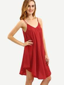 Red Crisscross Back Asymmetric Shift Dress
