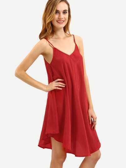 Red Crisscross Back Asymmetric Shift Dress