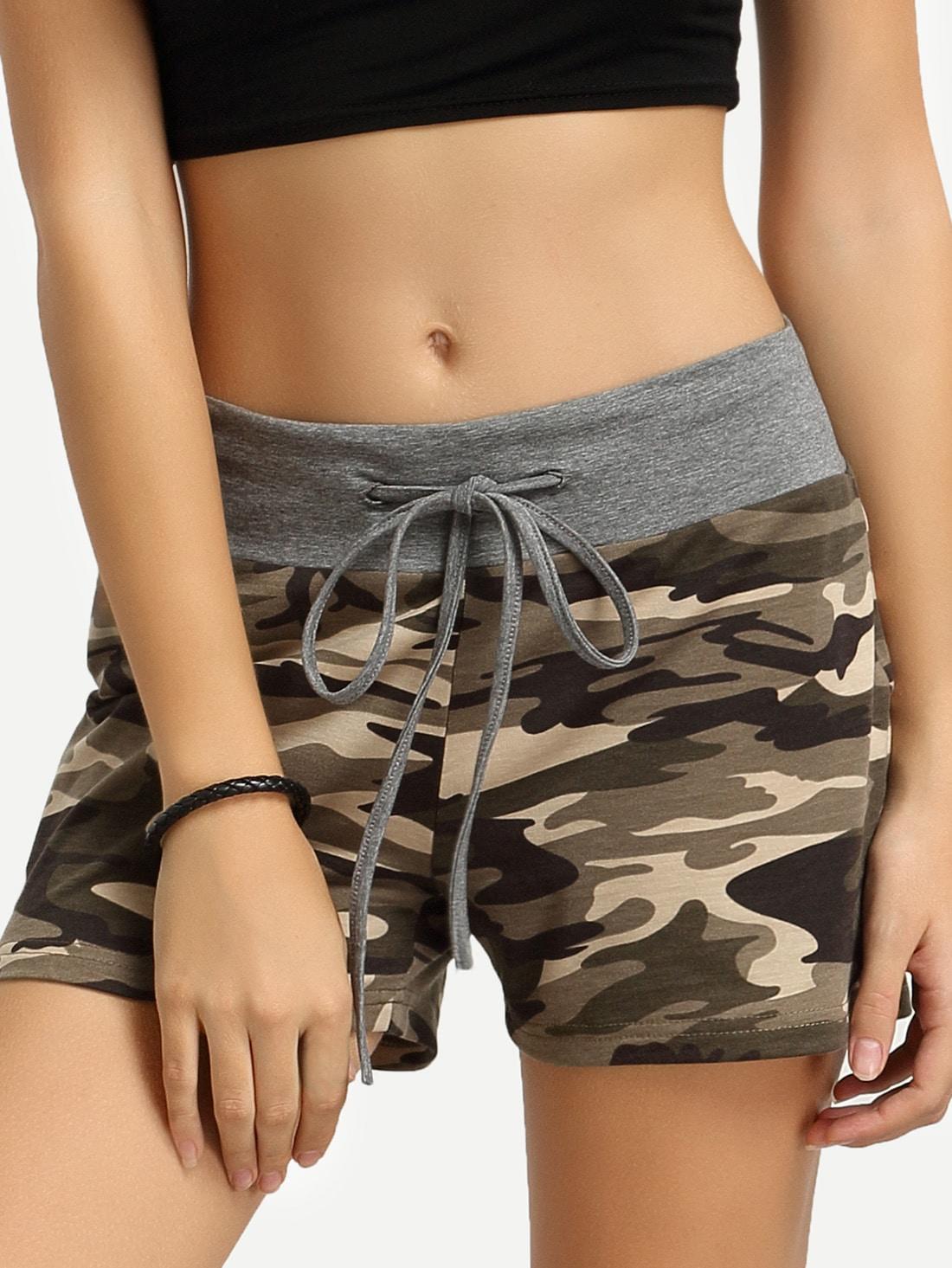 Camouflage Self Tie Waist Shorts thumbnail