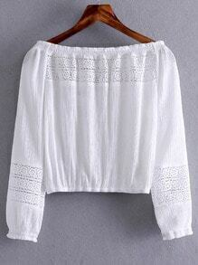 White Boat Neck Elastic Cuff Crochet Blouse