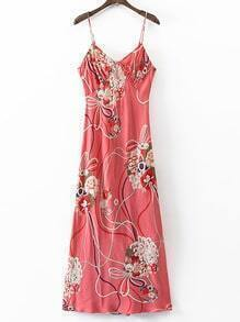 Red Spaghetti Strap Floral Hollow Back Dress