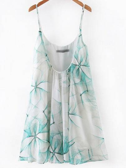 Green Printed Spaghetti Strap Pleated Dress