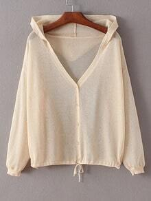 Nude Tie Waist Buttons Front Hooded Coat