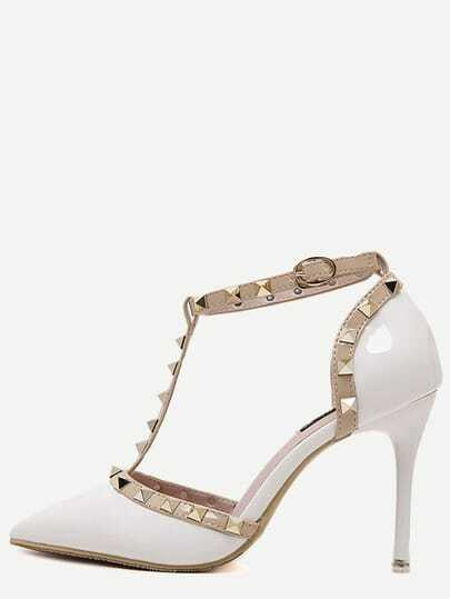 White Pointed Toe T-shaped Stiletto Heels