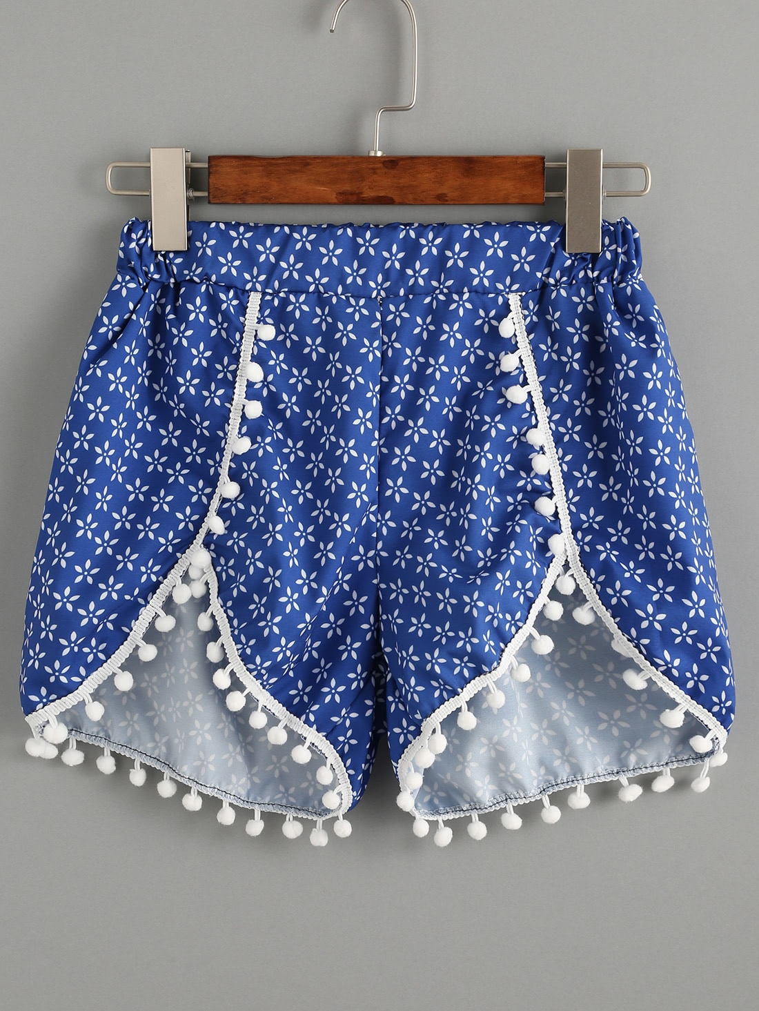 Vintage Print Pom Pom Trim Shorts pom pom ball applique rabbit print pullover