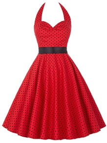 Red Polka Dot Halter Flare Dress