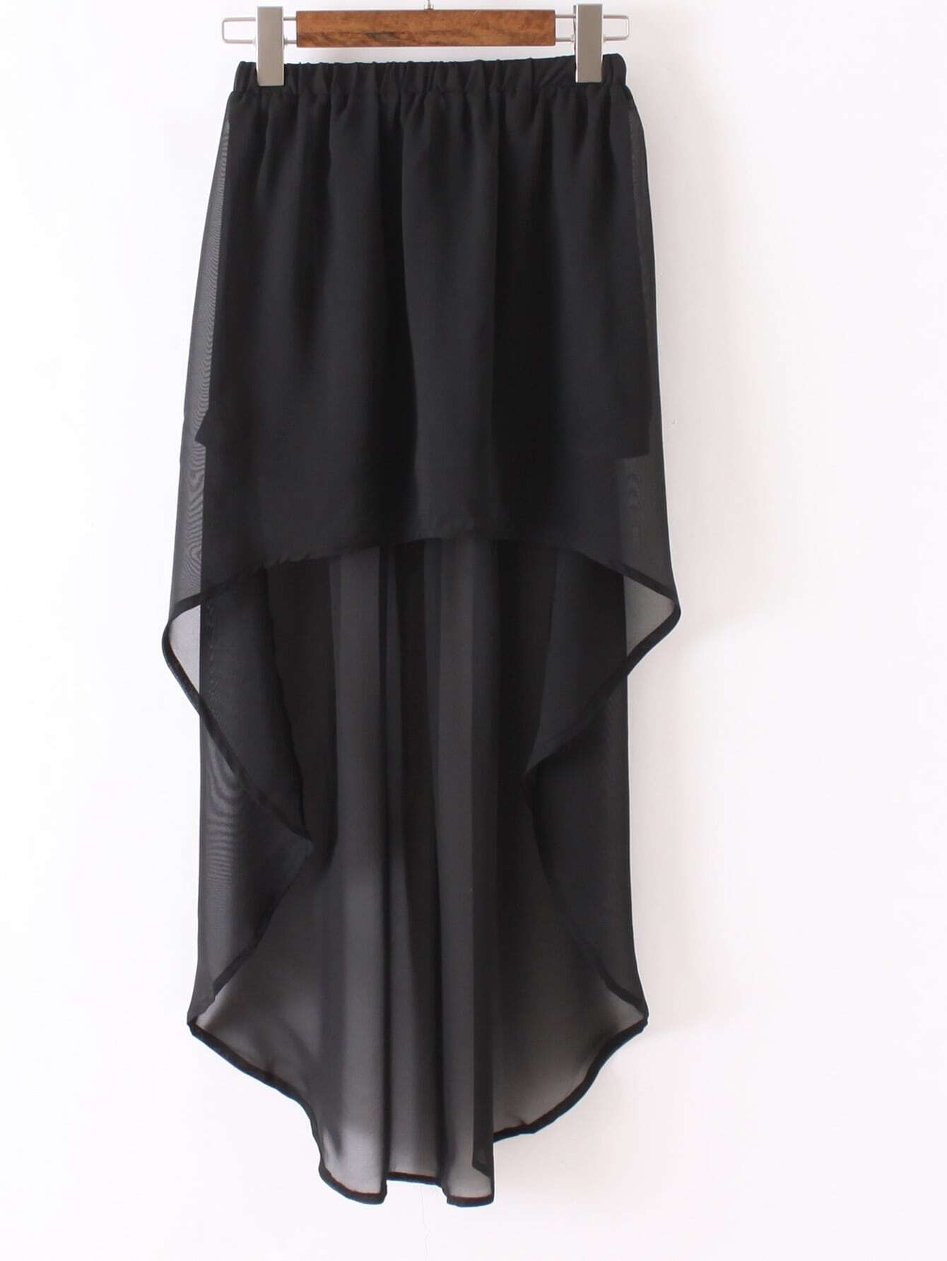 black high low elastic waist skirt shein sheinside
