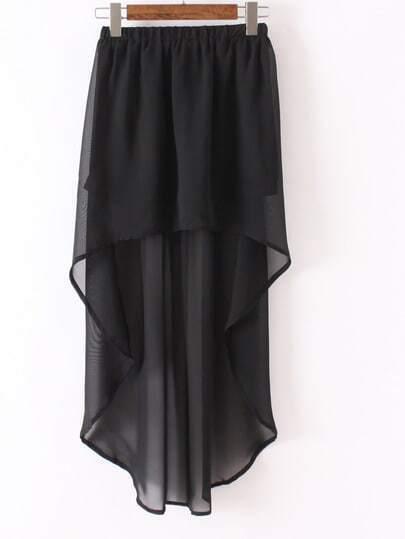 Black High Low Elastic Waist Skirt