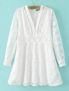 White Long Sleeve V Neck Zipper Lace Dress
