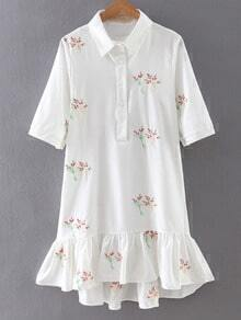 White Lapel Embroidery Ruffle Hem Dress