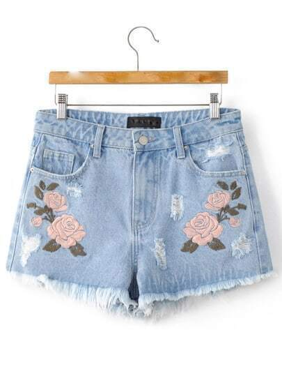 Light Blue Flower Embroidery Raw-edged Cut Pockets Shorts