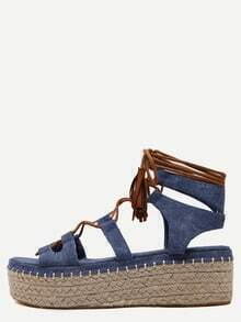 Blue Open Toe Lace-up Espadrille Wedges