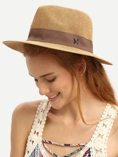 Coffee Letter M Large Brimmed Straw Hat