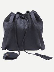 Black Tassel Drawstring Bucket Bag