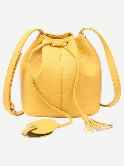 Yellow Tassel Drawstring Bucket Bag