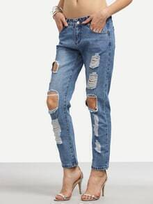 Blue Distressed Straight Jeans