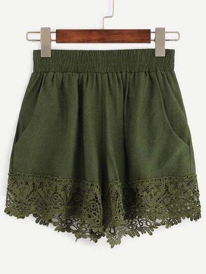 Pantalones cortos borde encaje cintura elástica -verde oliva