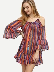 Multicolor Striped Cold Shoulder Tiered Dress