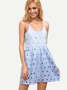 Blue Flower Crochet Overlay Cami Dress