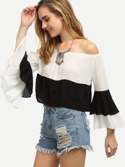 Contrast Layered Bell Sleeve Off The Shoulder Top
