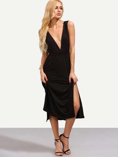 Black Double V Neck Slit Dress