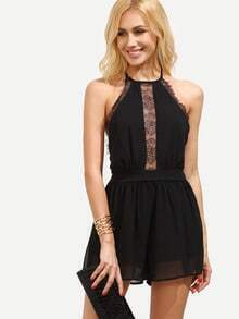 Black Lace Insert Halter Neck Backless Romper