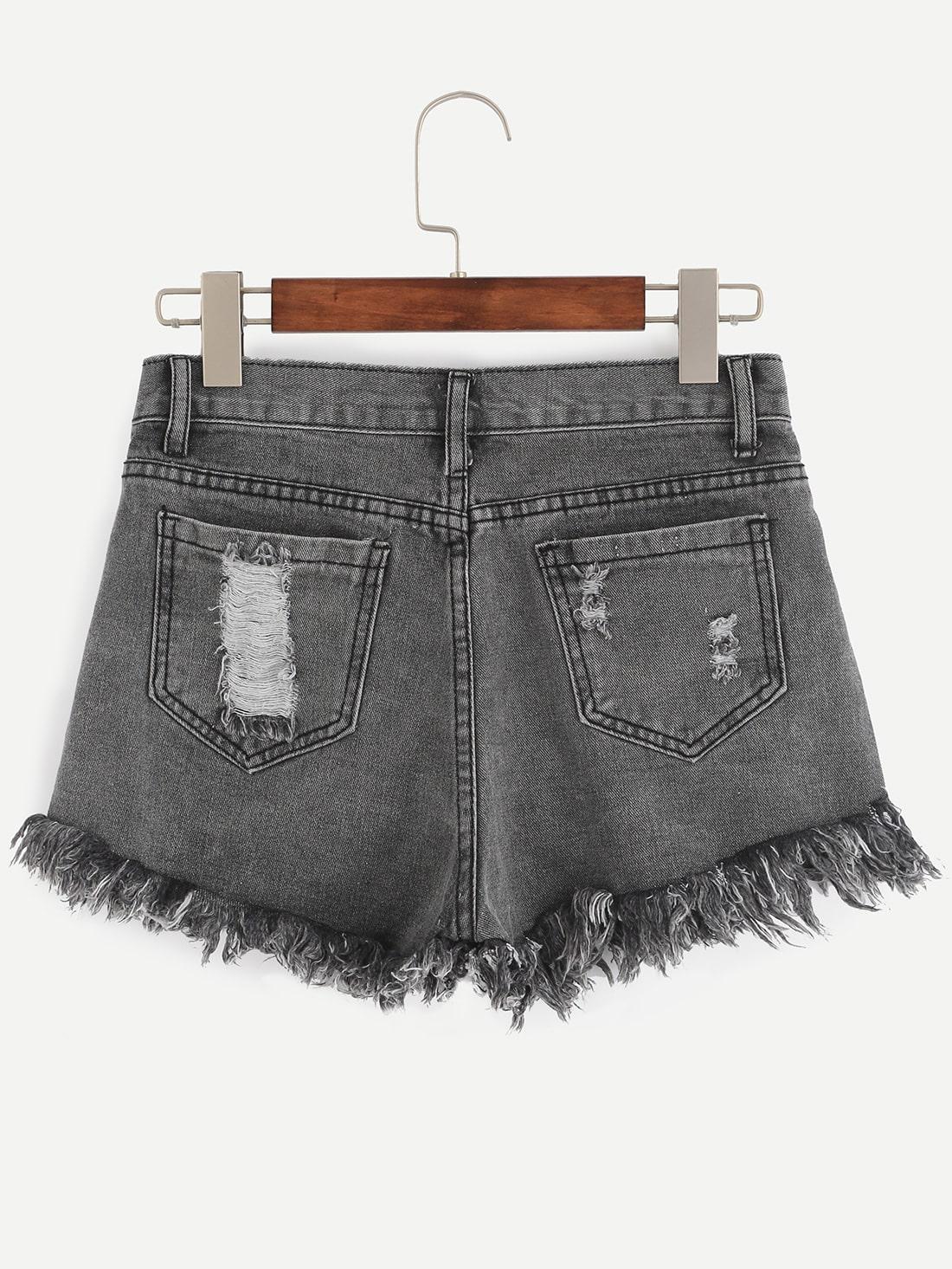 grey ripped raw hem denim shorts sheinsheinside